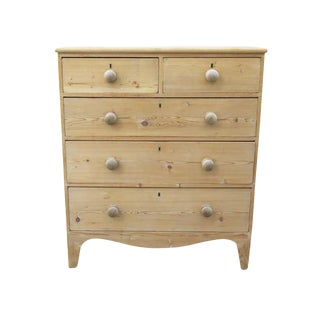 Antique English Bleached Pine Chest of Drawers For Sale