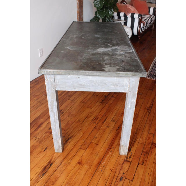 Antique French Zinc Work Table with Painted Legs in original blue/grey patina. Perfect for a breakfast table or covered...