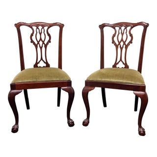 Councill Craftsmen Mahogany Chippendale Style Ball Claw Dining Side Chairs - Pair 2 For Sale