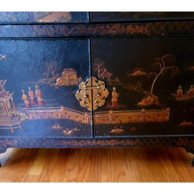 Black Maitland Smith Chinoiserie Entertainment Cabinet For Sale - Image 8 of 12