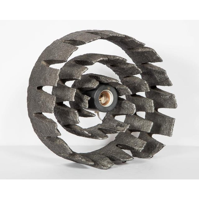 German Mid-Century Wheel Sculpture and Lamp with Brutalist Design For Sale - Image 4 of 9