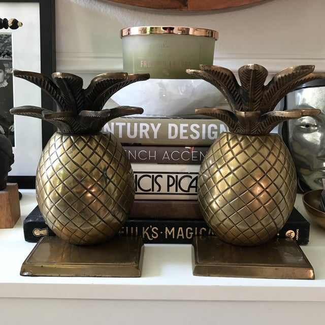 Modern Vintage Solid Brass Pineapple Bookends - A Pair For Sale - Image 3 of 5