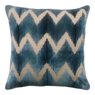 Lee Jofa Watersedge Aqua Chevron Velvet Pillow