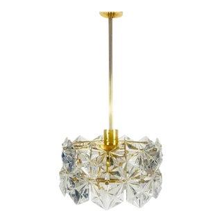 Kinkeldey Midcentury Polished Brass and Crystal Glass Chandelier, circa 1960s For Sale