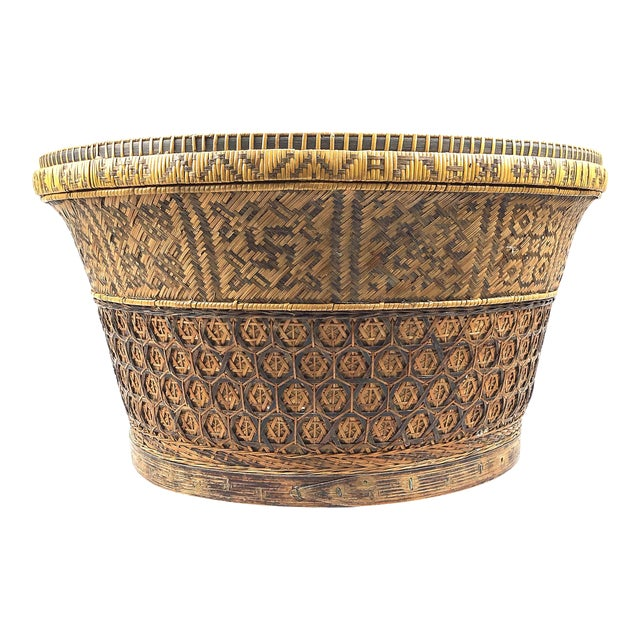 Chinese Antique Large Woven Empress Basket For Sale