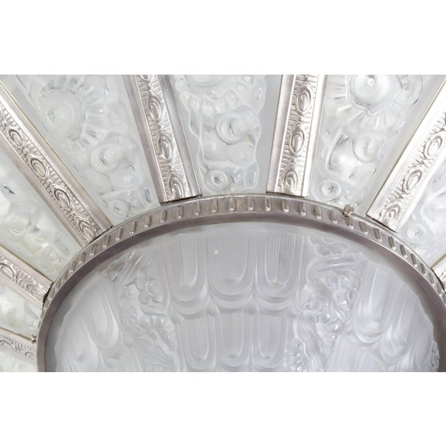 Metal Palatial French Art Deco Fourteen Panel Chandelier by Genet et Michon For Sale - Image 7 of 11