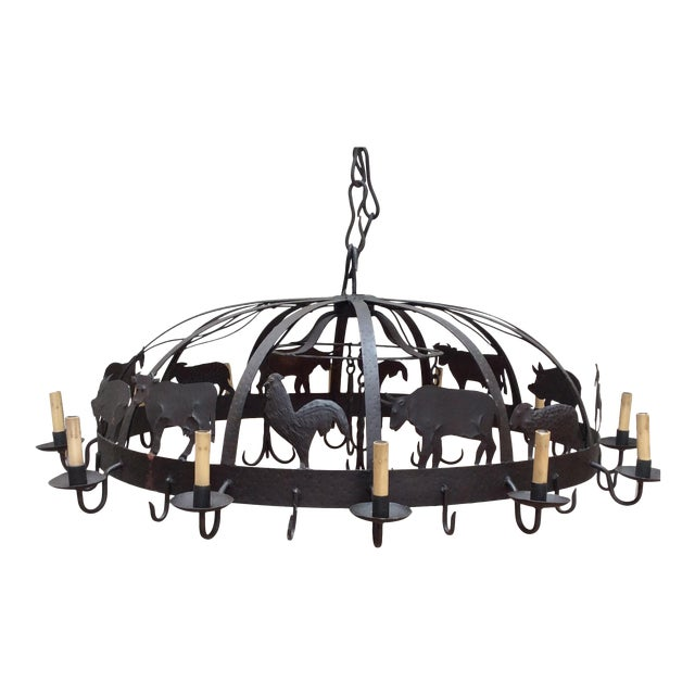 Large Iron Farm Animal Themed Pot Rack Chandelier For Sale