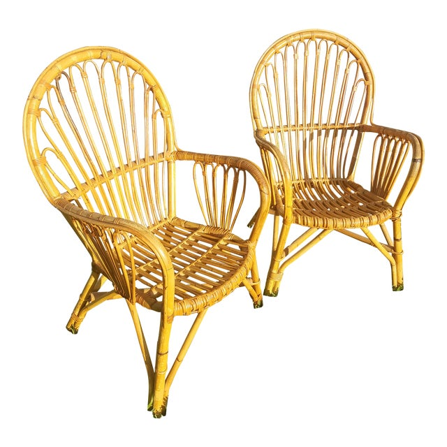 Vintage Rattan Chairs - A Pair - Image 1 of 5