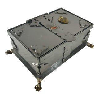 1950's Handmade Italian Gothic Chrome and Brass Paw Footed Dresser or Trinket Box For Sale