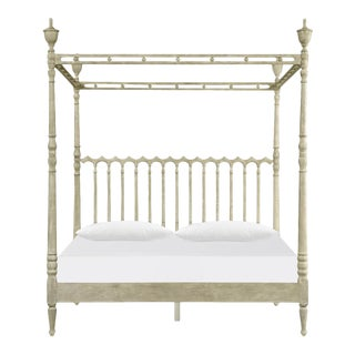 Greyed Oak Four Post Queen Bed