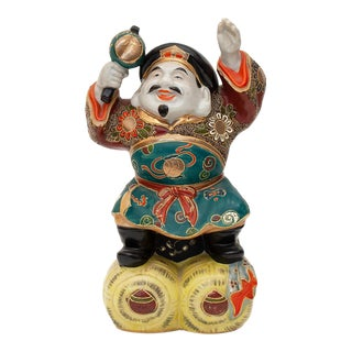 Meiji Era Porcelain Statuette of Daikoku, Japanese God of Wealth For Sale