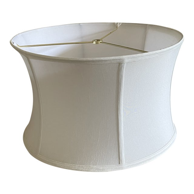 Silk Shantung Off White Curved Drum Shade With Brass Spider Fitter For Sale