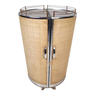 Midcentury Rolling Bar Cabinet by Semrow Products For Sale