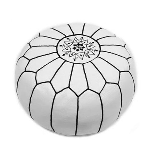 Black & White Handmade Moroccan Pouf Ottoman - Image 2 of 2