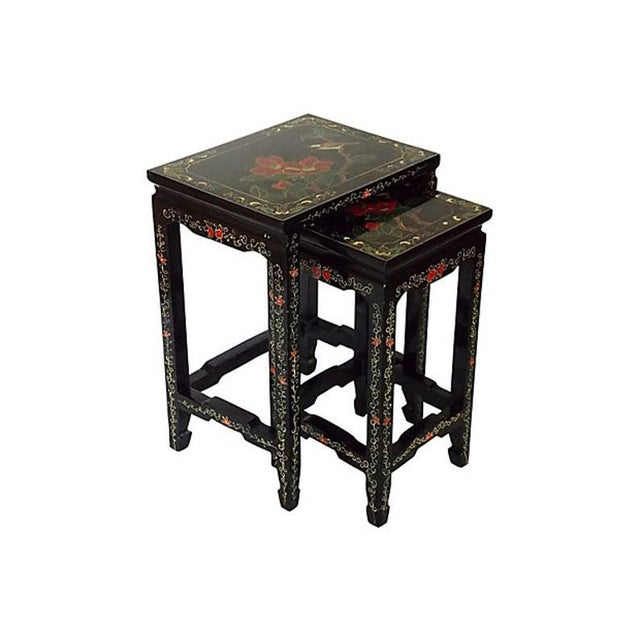 Black 1970s Asian Lacquered Nesting Tables - a Pair For Sale - Image 8 of 8