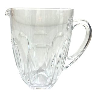 Vintage 1960s Crystal Glass Pitcher For Sale