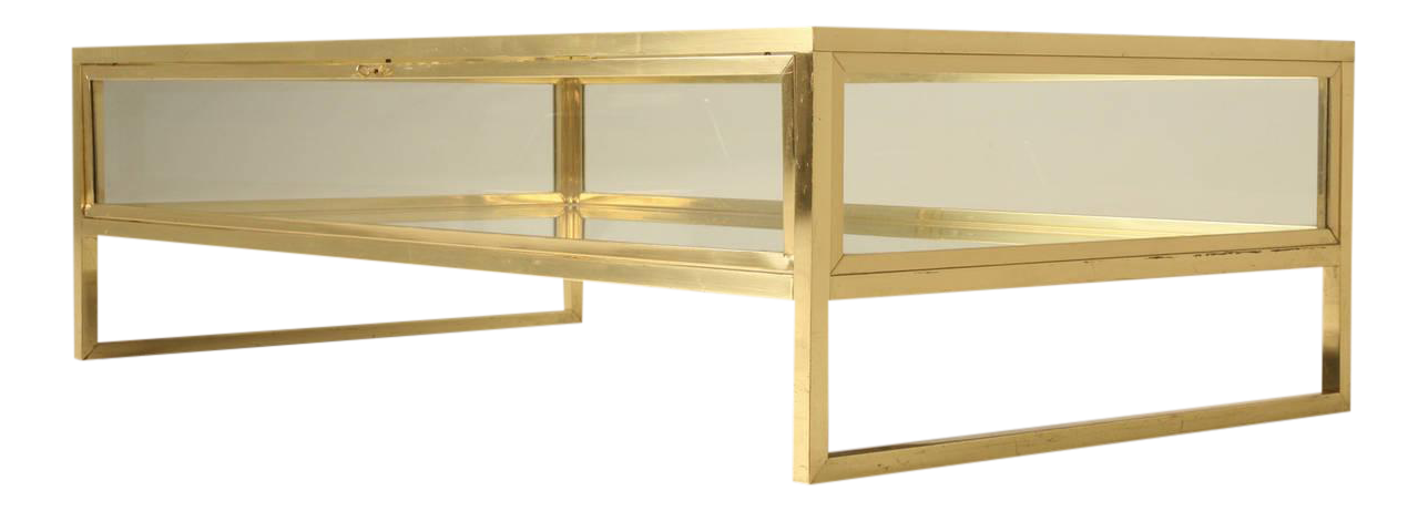 French Brass And Glass Mid Century Modern Display Coffee Table   Image 1 Of  10