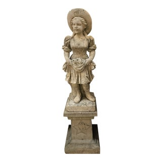 Antique Statue of Charming Little Lady, Cast Stone Figure on Base For Sale