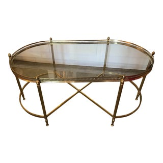 1960s Maison Jansen Style Brass and Glass Galleried Cocktail Table For Sale