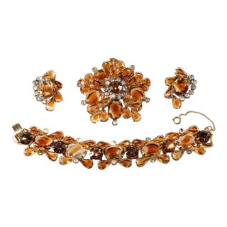 Juliana Topaz Givre Rhinestone Bracelet Brooch Earrings Parure Set For Sale