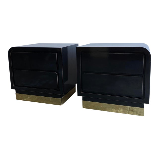 1980s Black Laqcuer and Brass Nighstands-a Pair For Sale