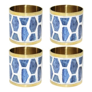Casa Cosima Arlington Napkin Ring in Indigo, Set of 4 For Sale