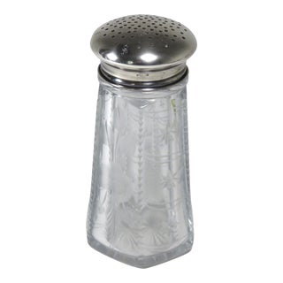 Antique Sterling Silver & Hand Cut Glass Sugar Shaker For Sale