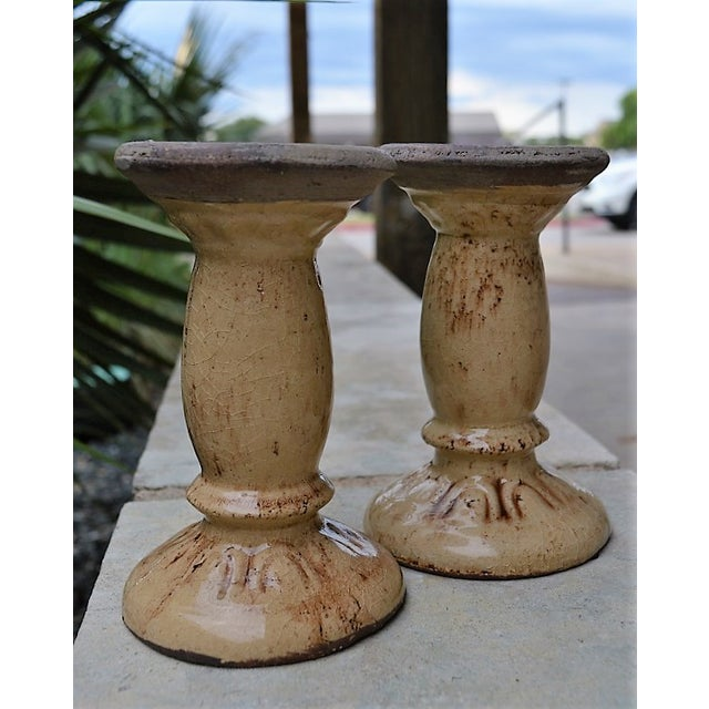 Crackled Glaze Pillar Candle Holders - a Pair For Sale - Image 4 of 4