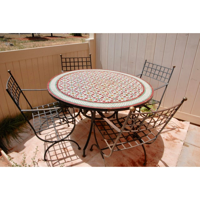 """Moroccan Zellij Red, Green, Yellow and White Mosaic Tile 52"""" Round Table & 4 Wrought Iron Arm Chairs For Sale - Image 10 of 13"""