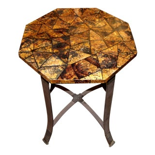 Kreiss Collection Coconut Shell Octagon Top Table With Iron Base