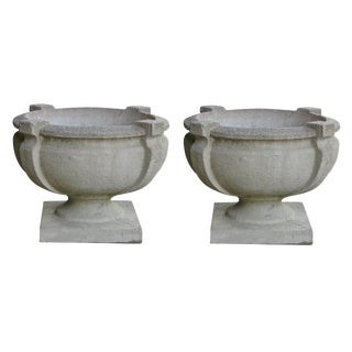 A Handsome Pair of American Cast Stone Garden Urns For Sale