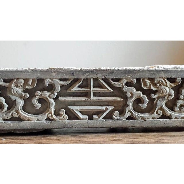 Stone Antique Asian Temple Architectural Relief Carved Stone Frieze Panel For Sale - Image 7 of 13