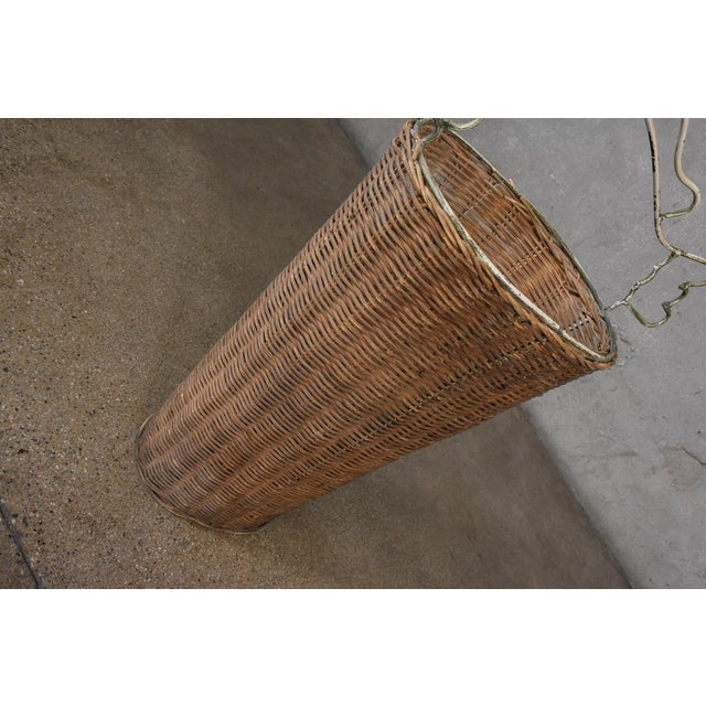 Frederick Weinberg Frederick Weinberg Style Rattan Fish Basket For Sale - Image 4 of 5