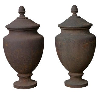 Pair Antique Cast Iron Finials