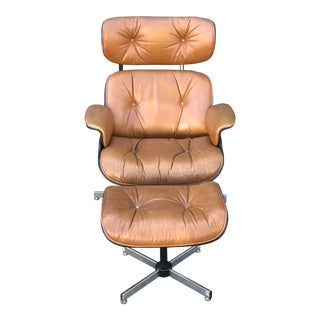 Tan Reproduction Lounge Chair & Ottoman For Sale