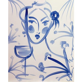 Flowers and Wine in Indigo Janine For Sale