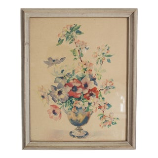 Vintage Cottage Floral Still Life Framed Art Print For Sale