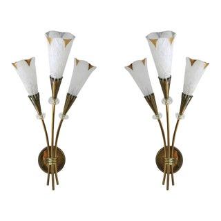 Italian Calla Murano Glass Brass Sconces - a Pair For Sale