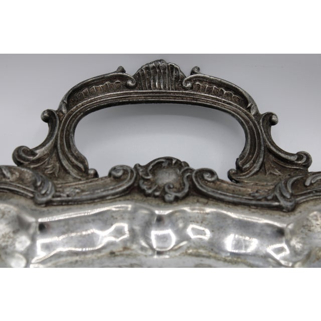 Rococo Large 19th Century Silver Plate Footed Serving Tray With Handles For Sale - Image 3 of 9
