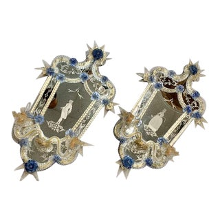 Vintage 1940s Murano Glass Male/Female Etched Mirrored Sconces - a Pair For Sale