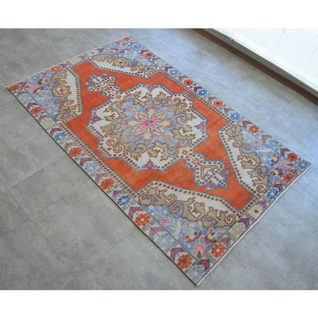 Distressed Area Rug Hand Knotted Colorful Oushak Medallion Rug - 4'4'' X 7'3'' For Sale - Image 11 of 12