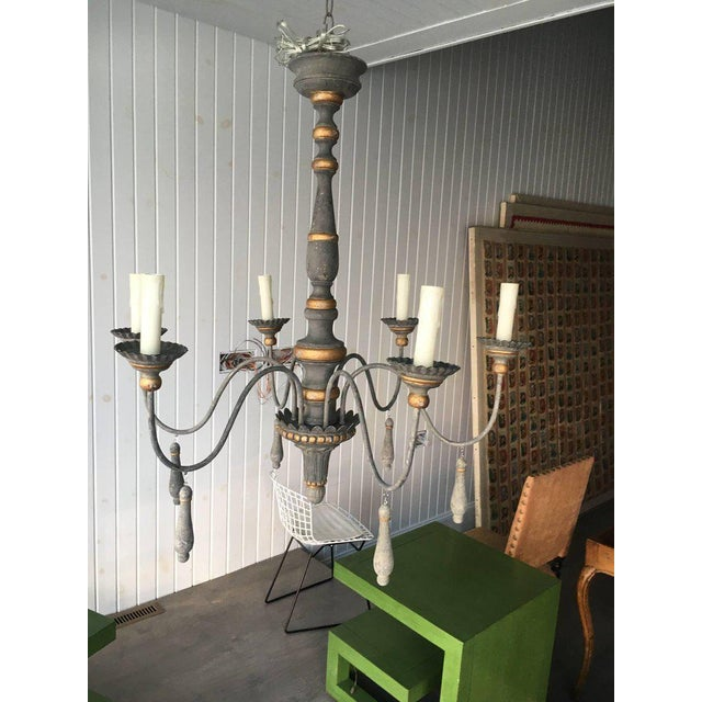 Two Chic Six-arm Chandeliers in Lovely French Grey Finish, Gilt Accents For Sale - Image 4 of 10