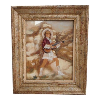 1940s Vintage Ginette Coste Female Western Musician Gouache on Paper Painting For Sale