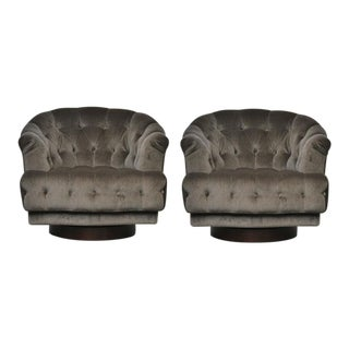 1950s Dunbar Edward Wormley Tufted Swivel Lounge Chairs - a Pair For Sale