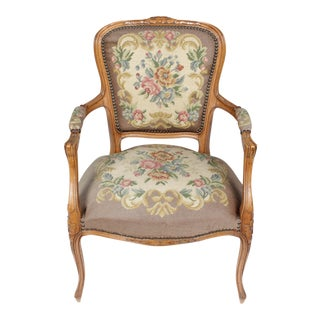 1940s Louis XVI Needlepoint Fauteuil For Sale
