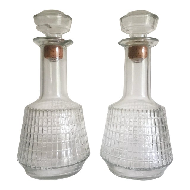 Vintage Mid Century Modern Square Cut Glass Decanters - a Pair For Sale