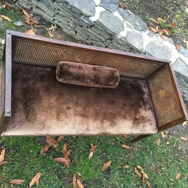Vintage Mink Velvet Hollywood Regency Cane Bench - Image 6 of 11