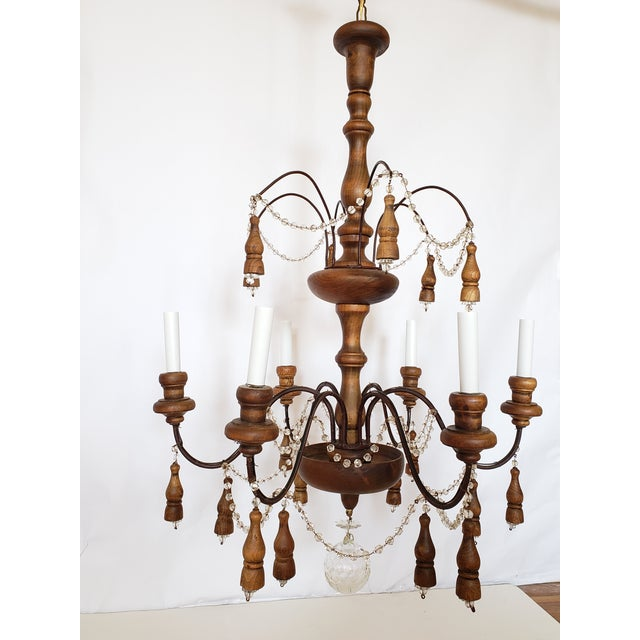 Antique French Wood & Crystal Chandelier For Sale - Image 4 of 13