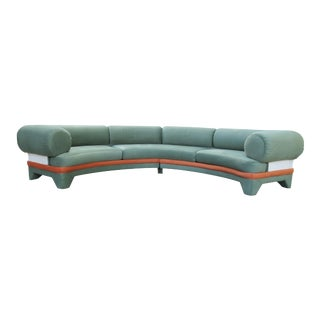 1970s Contemporary Circular Curved Ultrasuede Sectional Sofa For Sale