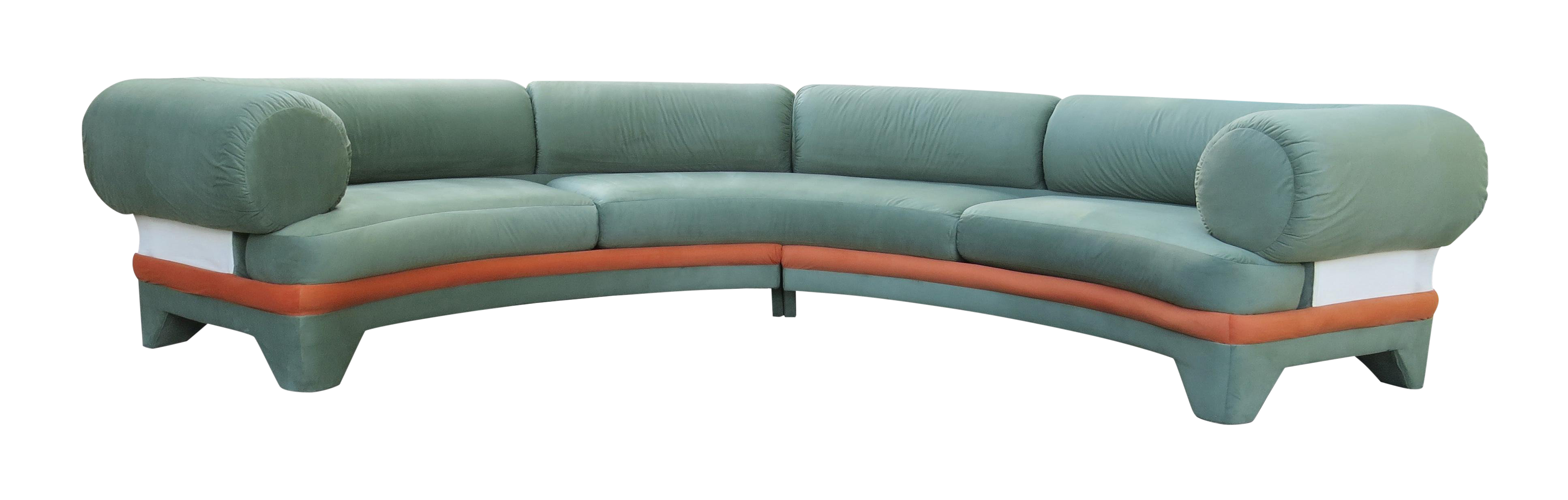 1970s Contemporary Circular Curved Ultrasuede Sectional Sofa